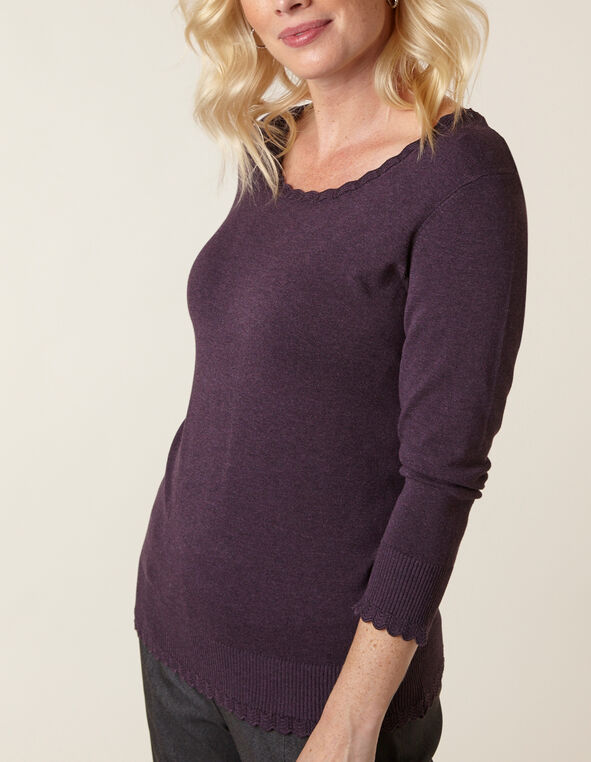Purple Scallop Edge Sweater, Purple, hi-res