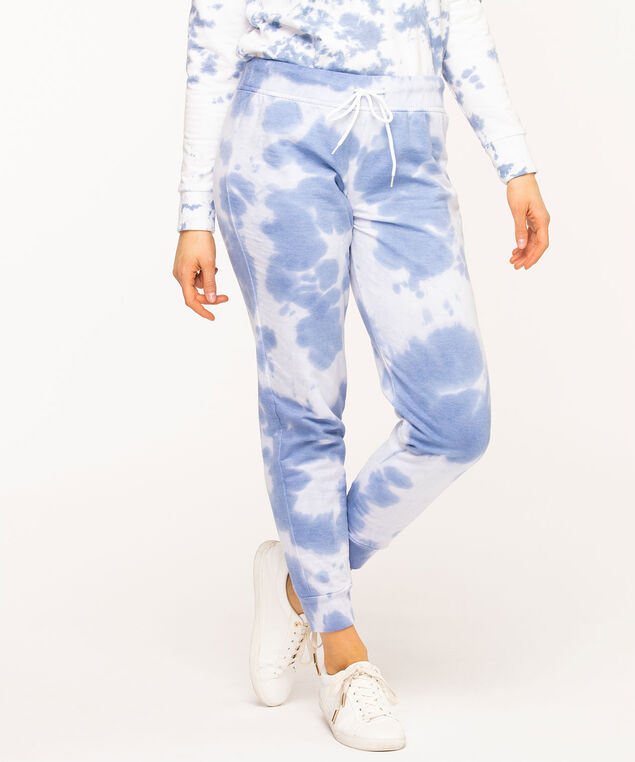 Tie Dye Fleece Jogger Pants, Blue Mix