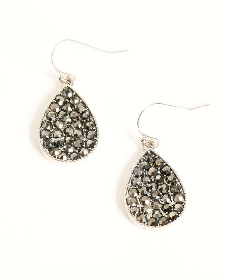 Silver & Black Pave Teardrop Earring, Silver/Black, hi-res