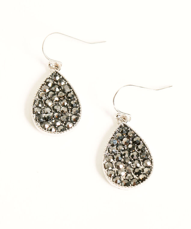 Silver & Black Pave Teardrop Earring, Silver/Black, hi-res