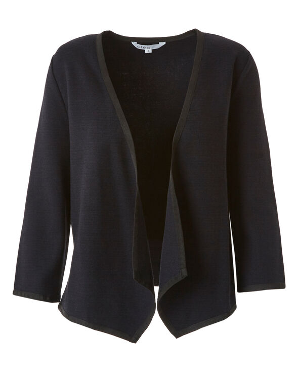 Navy Knit Open Jacket, Navy, hi-res