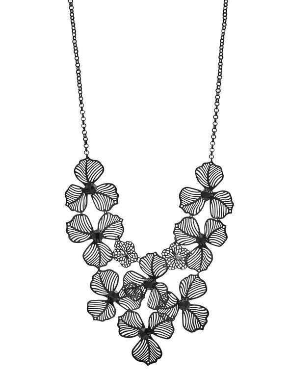 Short Black Floral Statement Necklace, Black, hi-res