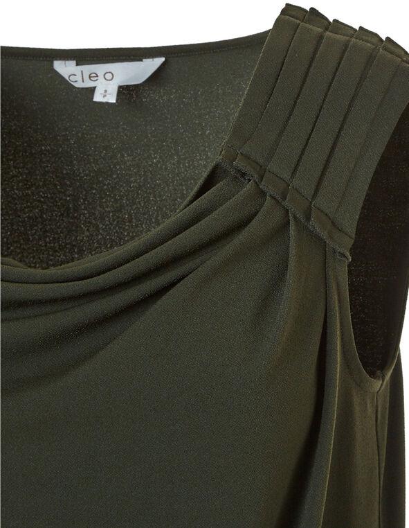 Green Crepe Detail Top, Green, hi-res