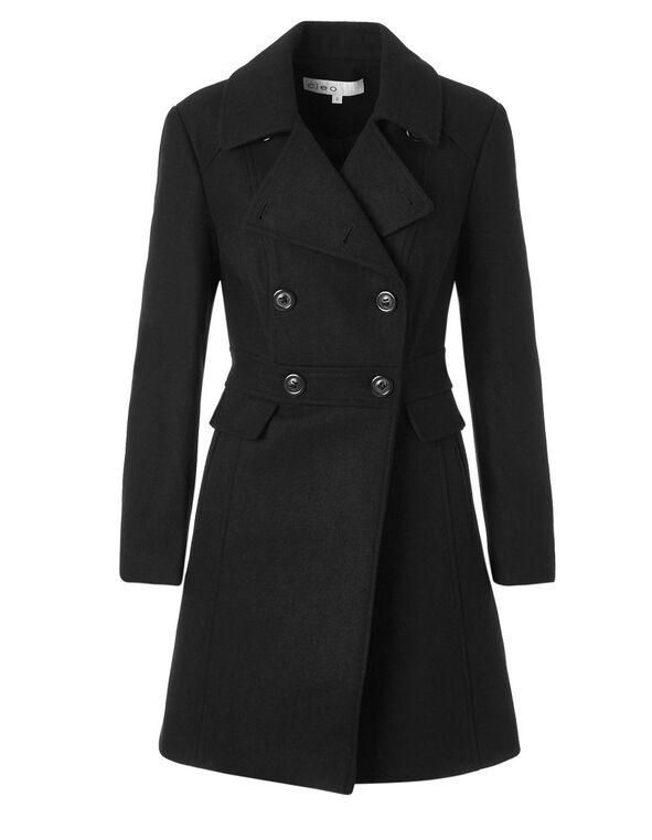 Black Wool Blend Peacoat, Black, hi-res