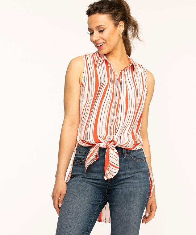 Cajun Stripe Tunic Blouse, Orange/White
