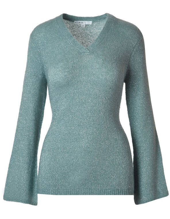 Light Teal V-Neckline Shimmer Sweater, Light Teal, hi-res