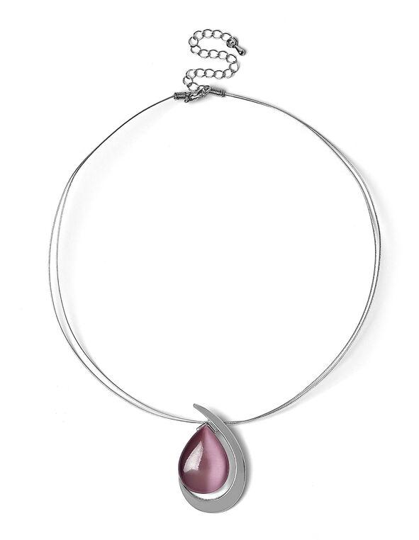 Short Wire Plum Cat Eye Necklace, Plum, hi-res