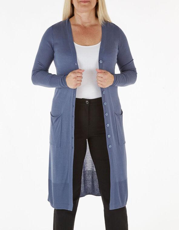 Blue Long Button Down Cardigan, Blue, hi-res
