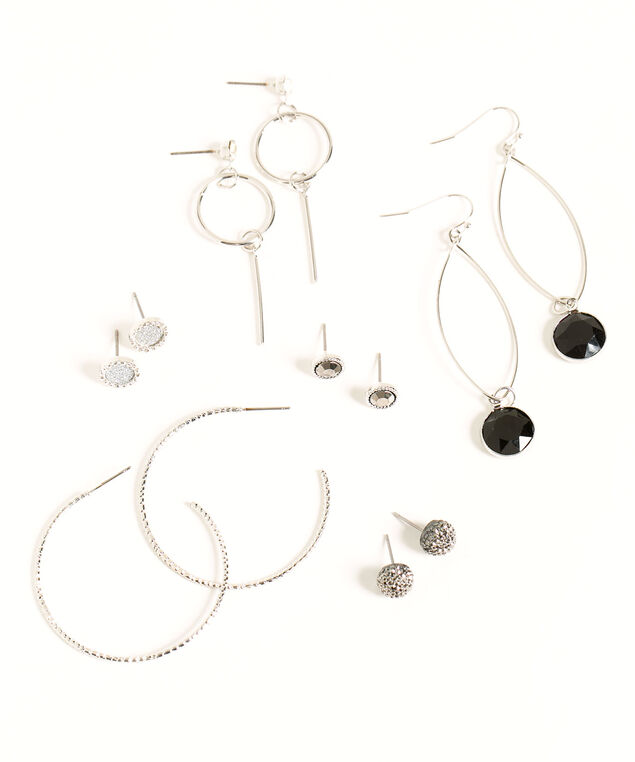 Sparkling Silver/Black Earring 6-Pack, Silver/Black, hi-res