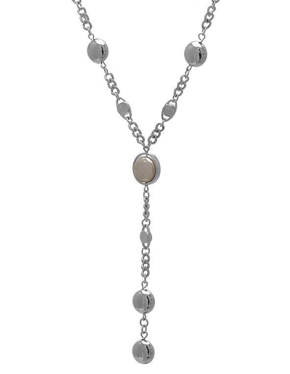 Silver Long Necklace, Grey, hi-res