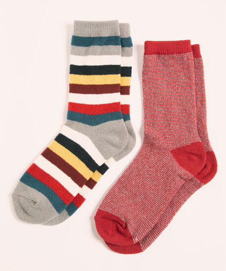 Super Soft Stripe Sock 2-Pack, Red/Grey/Blue/Ivory, hi-res
