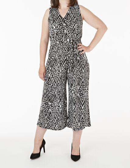 Black & White Print Jumpsuit, Black, hi-res