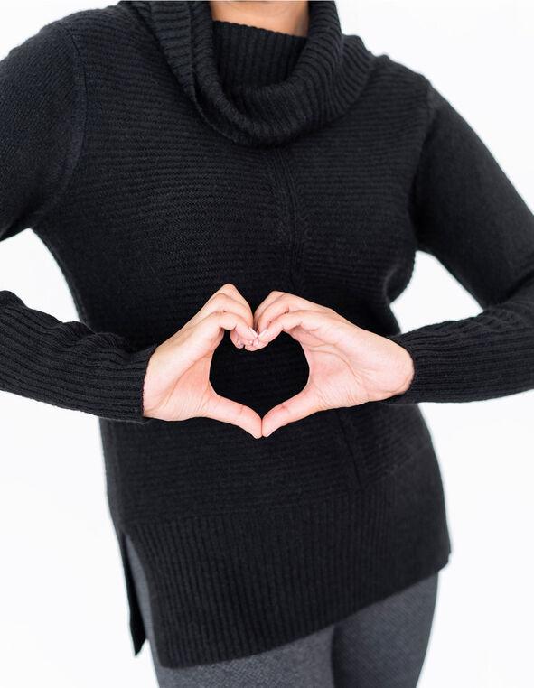 Black Rib Stitch Sweater, Black, hi-res