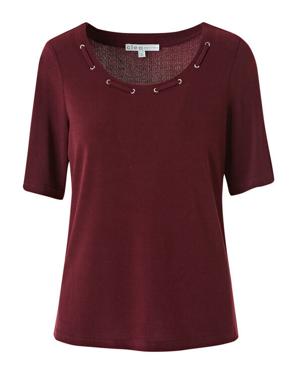 Wine Grommet Neckline Detail Top, Wine, hi-res