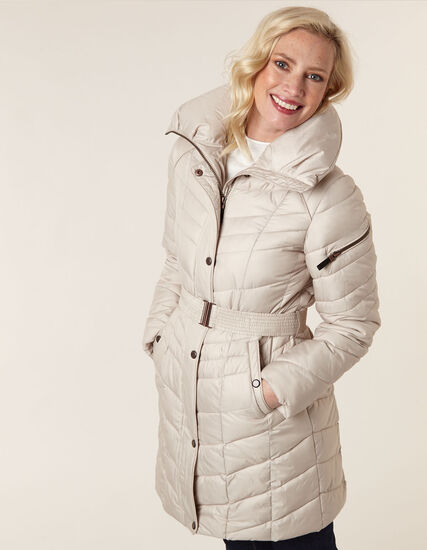 Taupe Belted Faux Down Coat, Taupe, hi-res