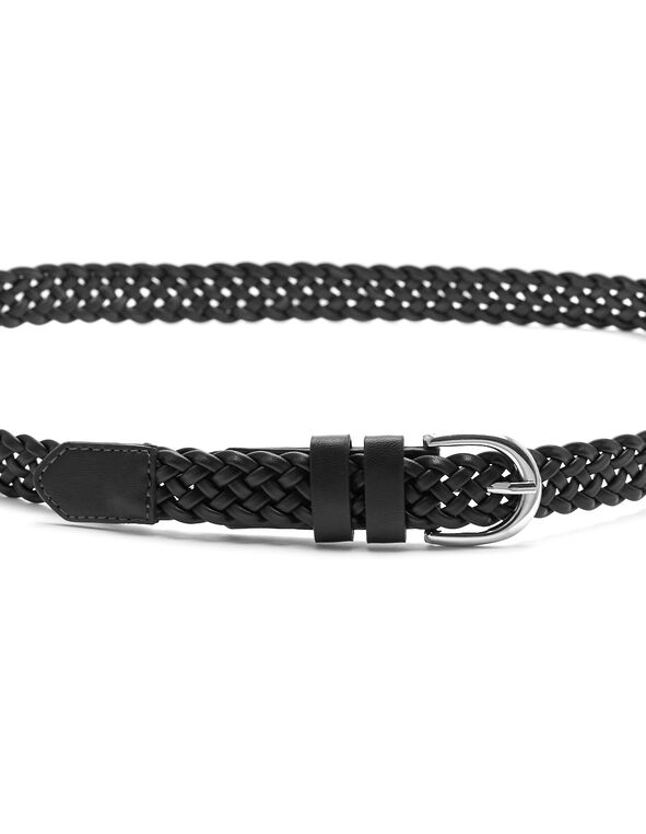 Black Braided Belt, Black, hi-res