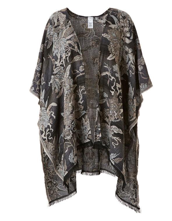 Black Floral Kimono, Floral, hi-res