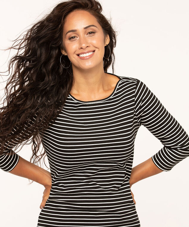 Organic Cotton Boatneck Tee, Black/White, hi-res