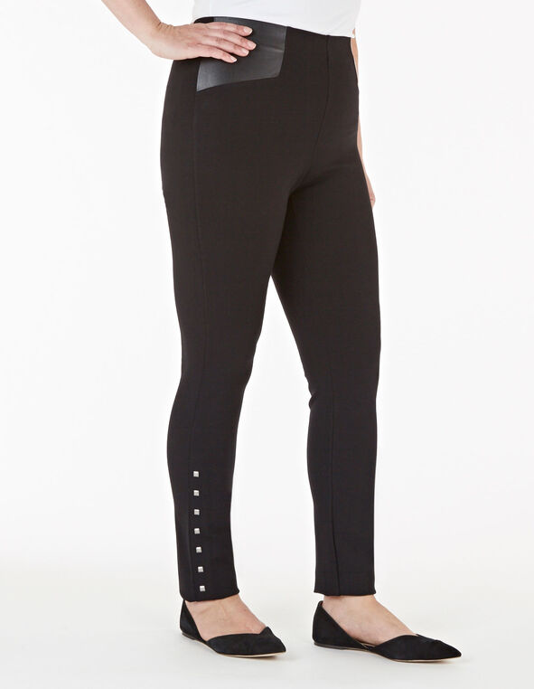 Black Stud Detail Legging, Black, hi-res