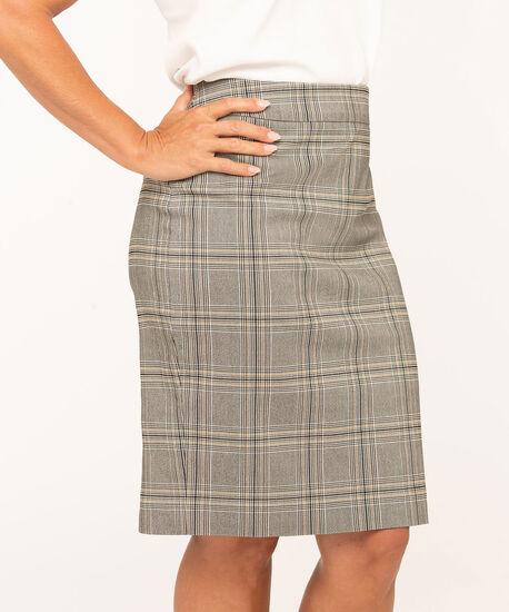 Plaid Pull On Pencil Skirt, Black/Ivory/Gold, hi-res