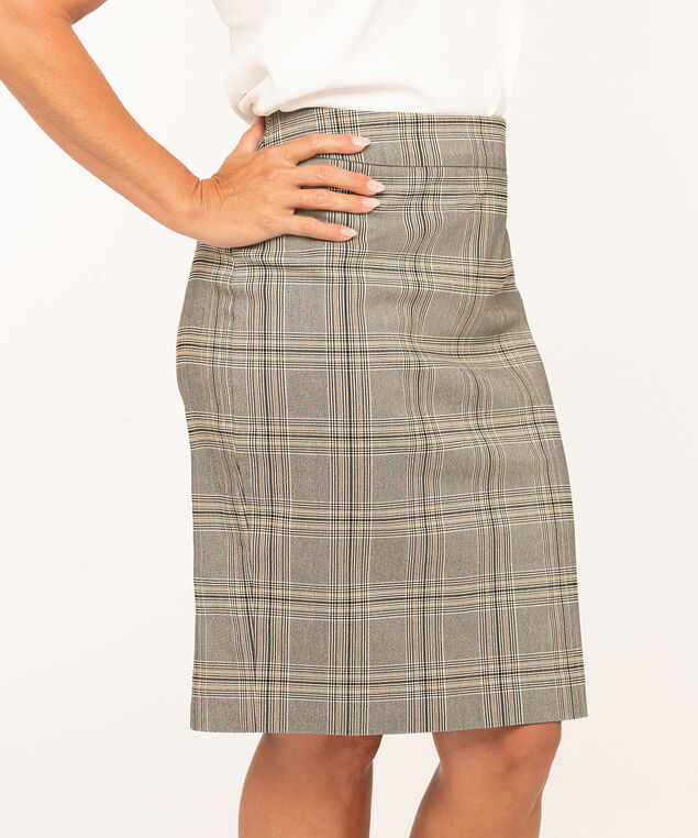 Plaid Pull On Pencil Skirt, Black/Ivory/Gold, hi-res