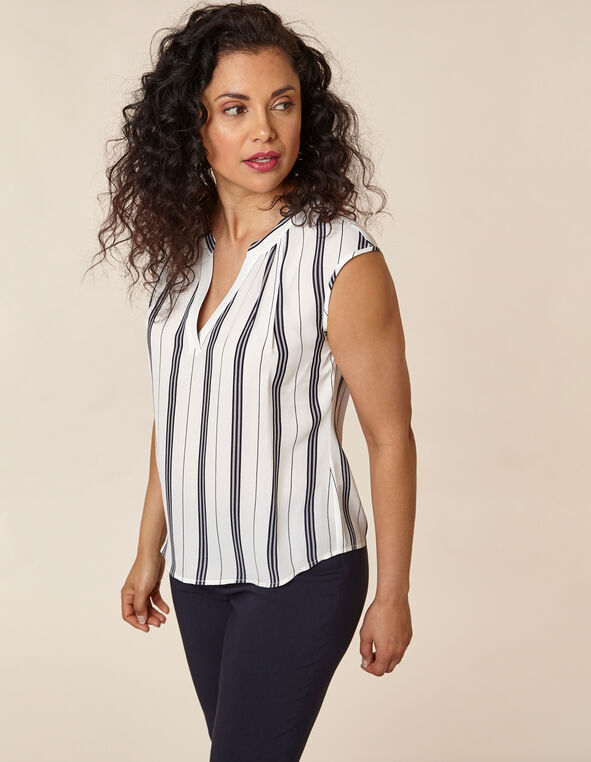 Navy Stripe Gathered Blouse, White/Navy, hi-res