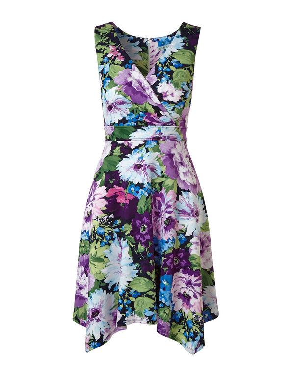 Purple Floral Fit & Flare Dress, Purple, hi-res
