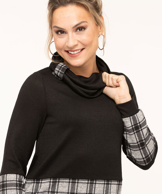 Grey Plaid Black Hacchi Top, Black/Grey Plaid