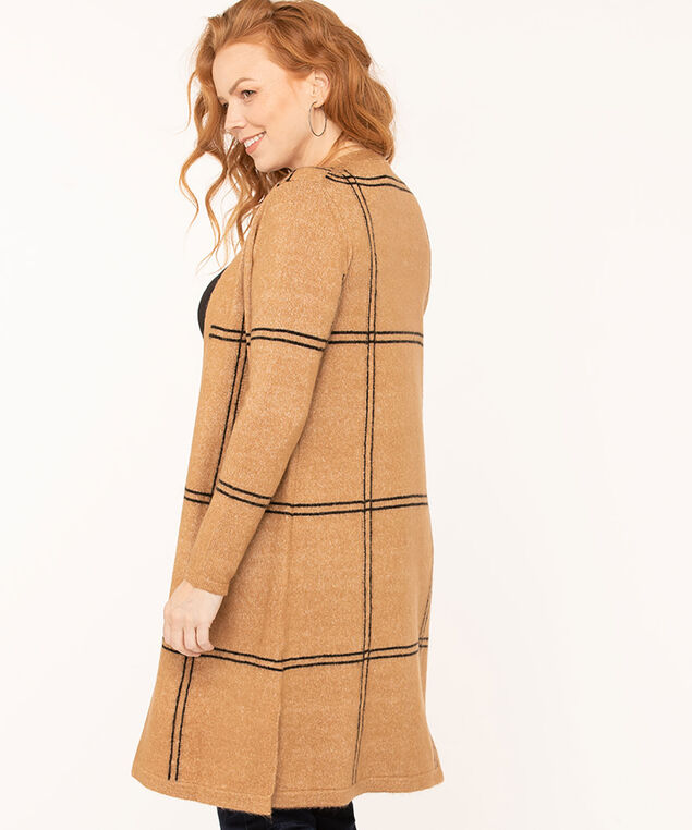 Windowpane Long Open Cardigan, Camel, hi-res