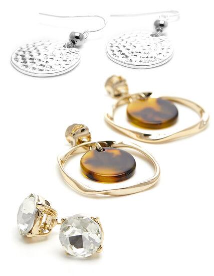 Tortoise Trio Earring Set, Gold, hi-res
