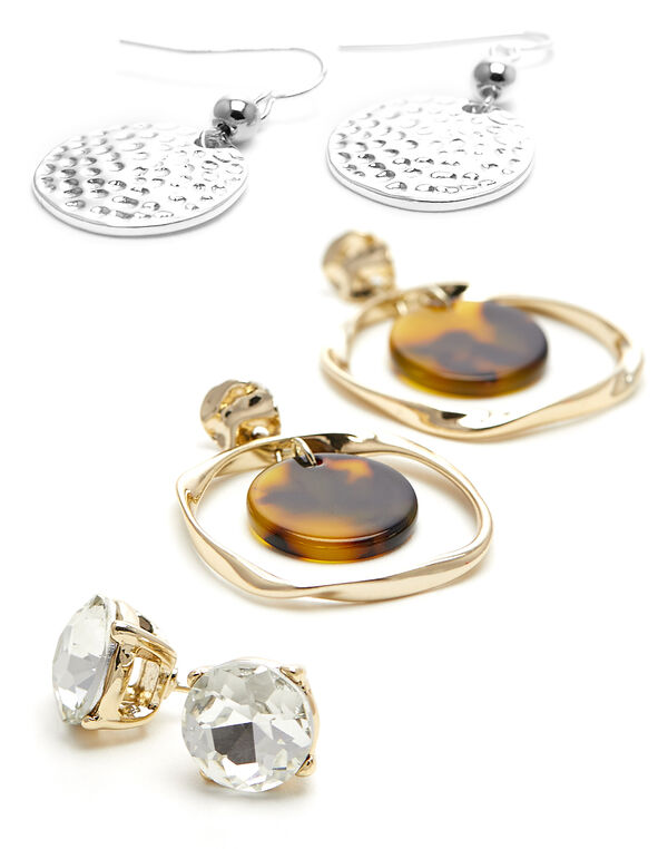 Tortoise Trio Earring Set, Gold, hi-res