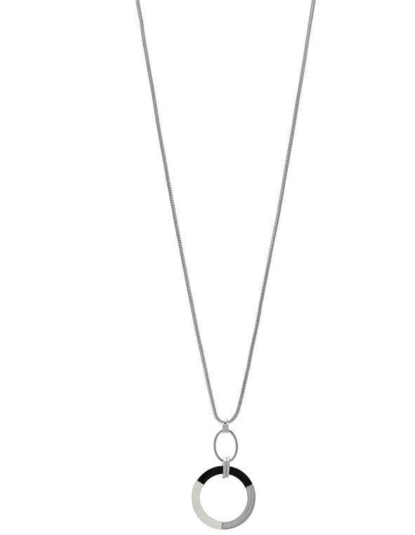 Silver Circular Pendant Long Necklace, Silver, hi-res