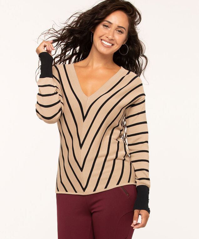 V-Neck Button Detail Sweater, Tan/Black