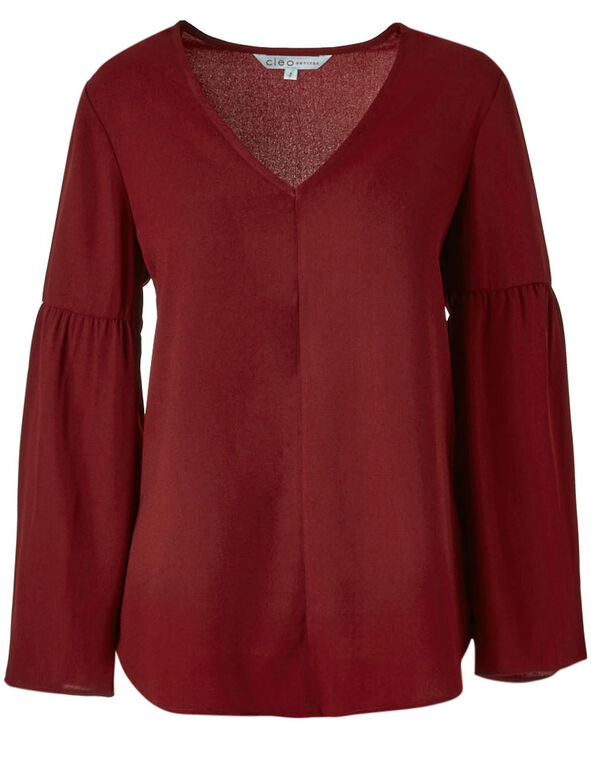 Red Wide Sleeve Blouse, Red, hi-res