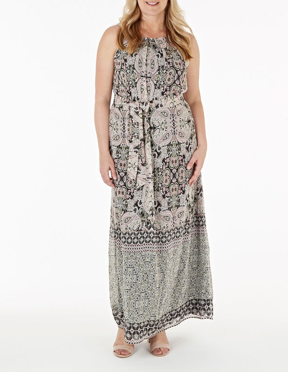 Pink Paisley Max Dress, Olive, hi-res