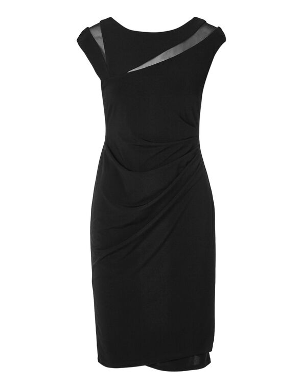 Black Mesh Insert Sheath Dress, Black, hi-res
