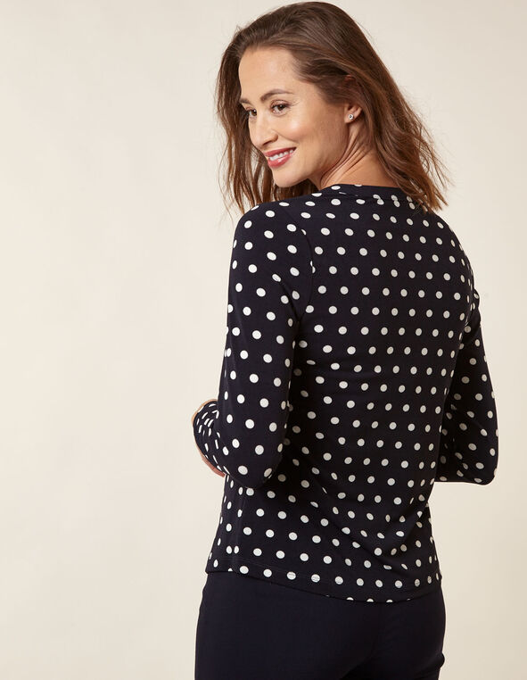 Navy Polka Dot Top, Navy, hi-res