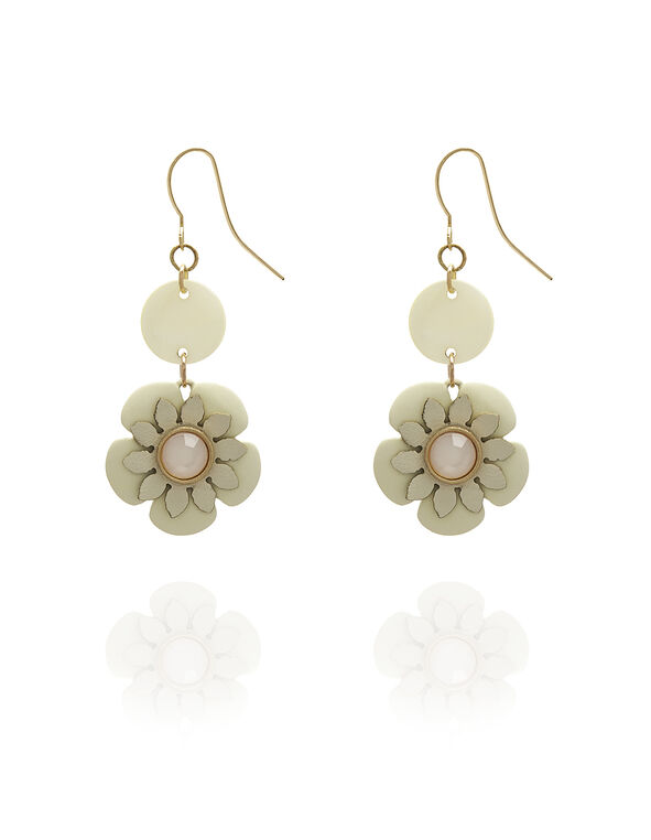 Neutral Floral Earring, Ivory, hi-res