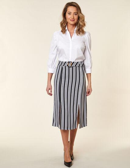 Striped Mid Length Skirt, Black/White, hi-res