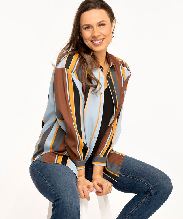Striped Button Front Tunic Blouse, Copper/Gold/Blue Stripe
