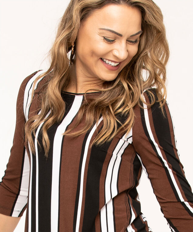 Striped Chiffon Fooler Hem Top, Black/Brown/White Stripe