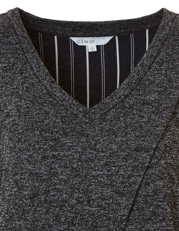 Grey Striped Fooler Top, Grey, hi-res