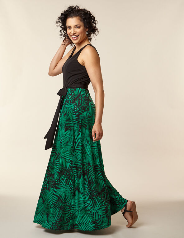 Green Palm Print Maxi Dress, Green/Black, hi-res