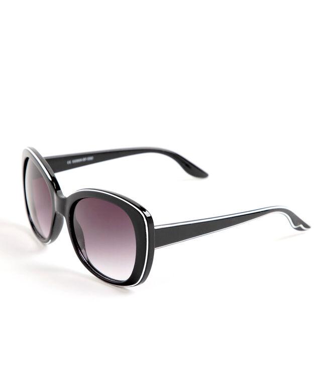 Black & White Tipped Round Sunglasses, Black/White