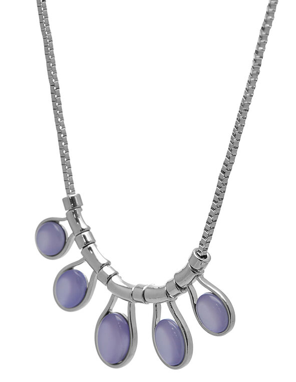 Purple Teardrop Statement Necklace, Silver/Purple, hi-res