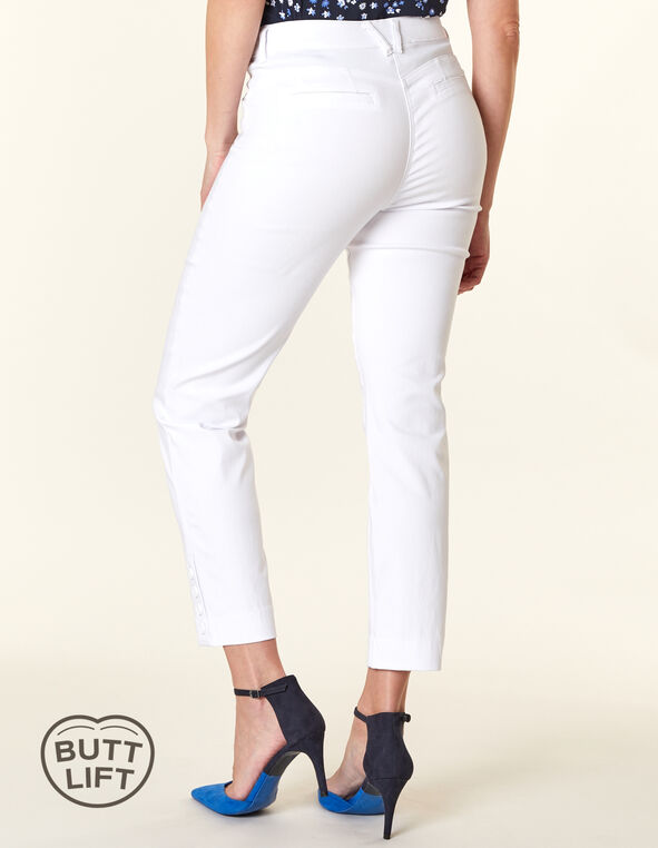White Button Butt Lift Slim Pant, White, hi-res
