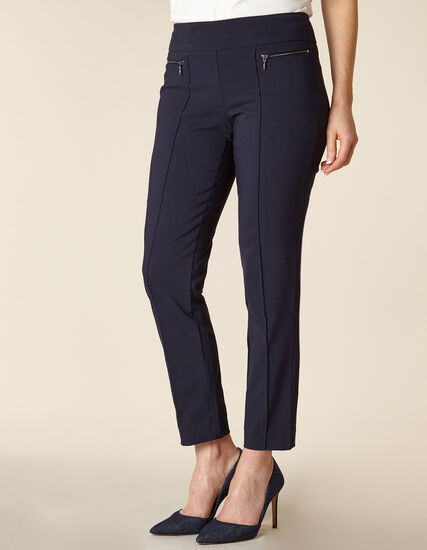 Navy Zip Pull On Slim Pant, Navy, hi-res