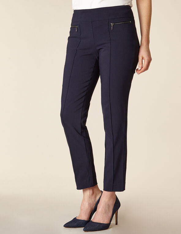 Navy Zip Pull On Slim Pant, Navy