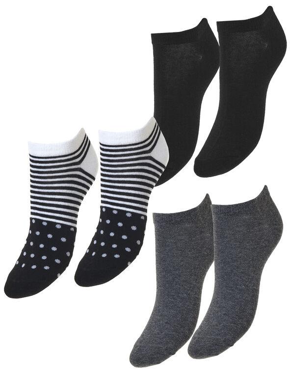 Black Ankle Sock 3 Pack, Black/Grey/White, hi-res