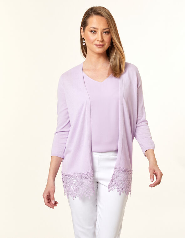 Orchid Crochet Long Cardigan, Purple/Orchid, hi-res